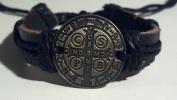 Bronze Tone Saint Benedict Leather Bracelet Adjustable Fit