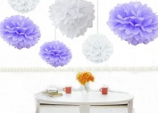 Kubert® Pom Poms - 12pcs Tissue Paper Flowers,White and Lavender ,3 Sizes,Tissue Paper Pom Poms,Best Mother's Day decoration,Wedding Decor,Party Decor,Pom Pom Flowers,Tissue Paper Pink,Tissue Paper Flowers Kit,Pom Poms Craft,Wedding Pom Poms,For ..