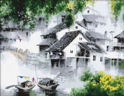 Greek Art Paintworks Paint Colour By Number,Foggy Waterside Village styleA,30cm by 41cm