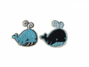 2 small pieces WHALE Iron On Patch Applique Embroidered Motif Fabric Decal 1 x 1 inches