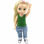 2 Pcs Set 41cm Animator Collection Doll Clothes Green Black Stripe Pattern Tank Top Ripped Jeans Costume Outfit