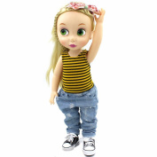 2 Pcs Set 41cm Animator Collection Doll Clothes Yellow Black Stripe Pattern Tank Top Ripped Jeans Costume Outfit