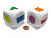 Set of 2 D6 Jumbo 50mm Foam Dice with Rounded Corners - Primary Shapes Dice