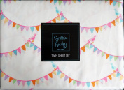 Cynthia Rowley 3 Piece Twin Size Girls Sheet Set Party Pennants Flags Birds