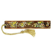 Tree Branch with Leaves in Colour Wooden Bookmark with Tassel