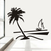 Fange DIY Removable Beach Coconut Palm Tree Sailboat Art Mural Vinyl Waterproof Wall Stickers Bed Room Decor Livingroom Decal Sticker Wallpaper 90cm x 80cm