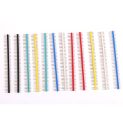 12Pcs 40Pin Male Single Row Pin Headers Strip 2.54mm Pitch Multicolor