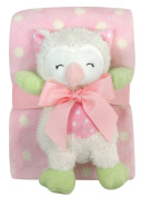 Stephan Baby Sleepy Owl Polka Dot Plush Blanket and 23cm Plush Owl Gift Set, Pink and White