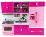 My Happy Kitchen Stove Sink Refrigerator Battery Operated Toy Doll Kitchen Playset w/ Lights, Sounds, Perfect for Use with 28cm - 30cm Tall Dolls