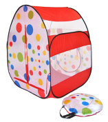 Cute Red Polka Dot Twist Play Ball Tent House for Kids w/ Safety Meshing for Child Visibility & Tote