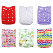 Alva Baby 6pcs Pack Fitted Pocket Washable Adjustable Cloth Nappy with 2 Inserts Each (Girl Colour) 6DM06