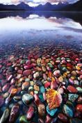 Glass Wall Art Acrylic Decor Coloured Stones in Water, 5 Stars Gift Startonight 60cm X 90cm