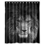 Custom Lion Waterproof Polyester Fabric 150cm (w) x 180cm (h) Shower Curtain and Hooks