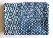Mango Gifts Indigo Colour Hand Block Printed Kantha Quilt, Queen Size Patchwork Cotton Bedspread, Made By Artisans of India 150cm X 230cm Approx Inches