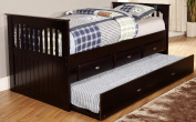 Discovery World Furniture Rake Bed with 6 Drawers, Twin, Espresso