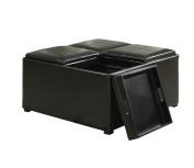 Simpli Home Avalon Coffee Table Storage Ottoman with 4 Serving Trays, Midnight Black