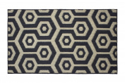 Jean Pierre Honeycomb Textured Decorative Accent Rug, 70cm x 120cm Black/Beige