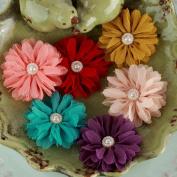 Cabaletta Fabric Flowers W/Pearl Middles 3.8cm 6/Pkg-Summer 2
