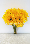 Sweet Home Deco 33cm Silk Artificial Gerbera Daisy Bouquet (W/ 7stems, 7 Flower Heads), Home/wedding Decorations