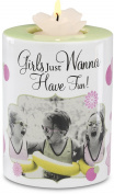 Candidly LOL by Pavilion 10cm Tall Tea Light Candle Holder with Candle, Girls Just Wanna Have Fun