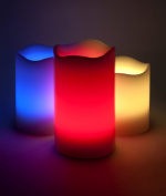 3 Flameless Outdoor and Indoor Wax LED Colour Changing Candles White with 18 Key Remote Control & Timer 4 and 8 hour Settings