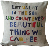 HOSL Cotton Linen Square Decorative Throw Pillow Case Cushion Cover Meaningful Quotes Colourful Letters 17.3*17.3 Inch