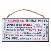 Grandparents House Rules Wooden Sign with Jute Rope Hanger