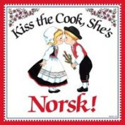 """Kiss the Cook, She's Norwegian"" Decorative Wall Tile Norwegian Gift Idea"