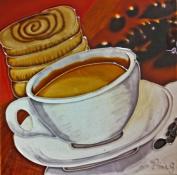 Continental Art Centre BD-2139 20cm by 20cm Coffe with a Cinnamon Bun Ceramic Art Tile