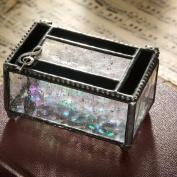J Devlin Black Opal and Clear- Musical Cleft Glass Keepsake/storage/jewellery Box