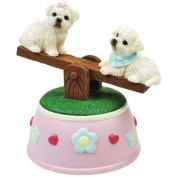 Maltese Puppies Musical See-Saw Figurine with Hearts and Flowers