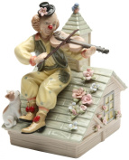 Cosmos Gifts 20867 Clown with Violin Musical Ceramic Figurine, 16cm