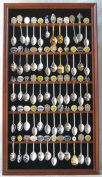60 Spoon Rack Spoon Display Case Holder Cabinet, with Real glass door, WALNUT Finsh