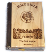 Jerusalem Bible, Olive Wood Cover carved with the Last Supper / Crucifixion
