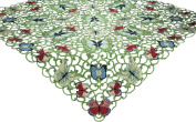 Xia Home Fashions Butterflies Embroidered Cutwork Spring Table Topper, 90cm by 90cm