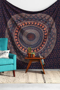 Multi-coloured Elephant Mandala Tapestry Indian Wall Hanging, Bedsheet, Coverlet Picnic Beach Sheet , Superior Quality Hippie Wall Tapestry or Bedspread in Organic Cotton 230cm x 220cm