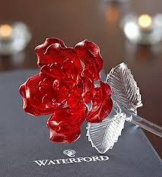 Waterford® Crystal Gifts Fleurology 37cm Coloured Sculpted Glass Red Rose. Packaged In A Waterford Presentation Gift Box