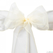 LinenTablecloth Organza Sash, Butter, 10-Pack