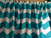 Pretty Window Curtain UNLINED Valance made from Cotton fabric (please see all pics and note this teal is greenish) Teal Chevron