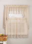 Mk Collection 3pc Antique Crushed Kitchen/cafe Curtain Tier and Swag Set