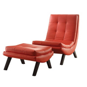 Ave Six TSN51-U9 Tustin Lounge Chair and Ottoman Set with Red Fuax Leather Fabric and Black Legs