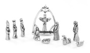 Nativity Set with Chreche Mini Pewter Figurine 11 Pc Set with Velvet Pouch