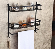 Rozin® Oil Rubbed Bronze Bathroom Storage Holder Dual Tier Cosmetic Shelf with Towel Bar