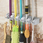 UniqueVC® Mop and Broom Magic Holder Wall Organiser With 5 Ball Slots and 6 Hooks - Compact & Clean Design Wall Mounted Garden Tool Storage Tool Rack Storage & Organisation-Best Heavy Duty Cleaning Utilities Wall Organiser For Home, Closet, Gara ..