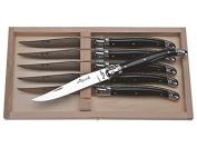 Jean Dubost Laguiole 6 Steak Knives Set, Acrylic Black