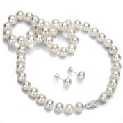 """Sterling Silver 10-11mm White Cultured Freshwater Pearl Necklace and Stud Earrings, 18"""""""