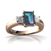 14kt Gold Lab Alexandrite and Diamond 7x5mm Emerald_Cut Three Stone Ring