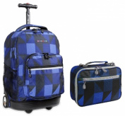 J World Combo Rolling Backpack & Lunch Bag Back to School Combo Bundle Set Sunrise / Cody
