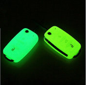 9 Moon Silicone Luminous Remote Flip Key Protecting Key Case Cover Fob Holder 3 Buttons For VW Volkswagen