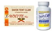 Ivory Caps Skin Whitening/ Lightening Pills 1500mg +X-WHITE CARROT FACE AND BODY SOAP 200G